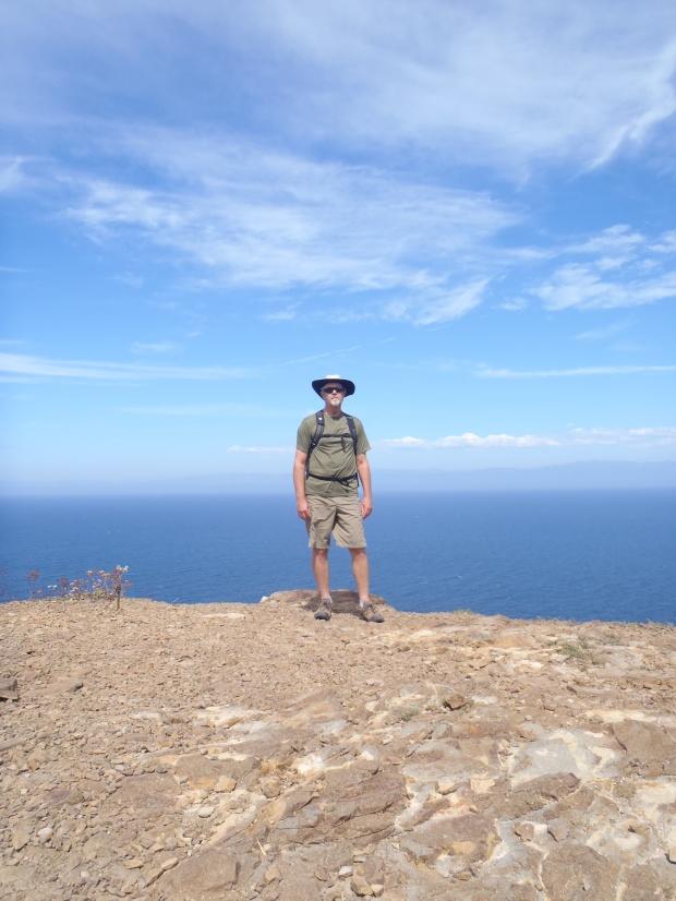 Hiking with my Sherpa on the Santa Cruz isle.